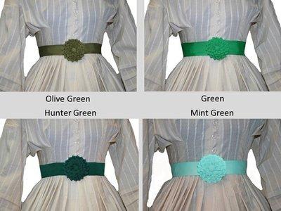 Shades of Green - Petersham Rosette Belt