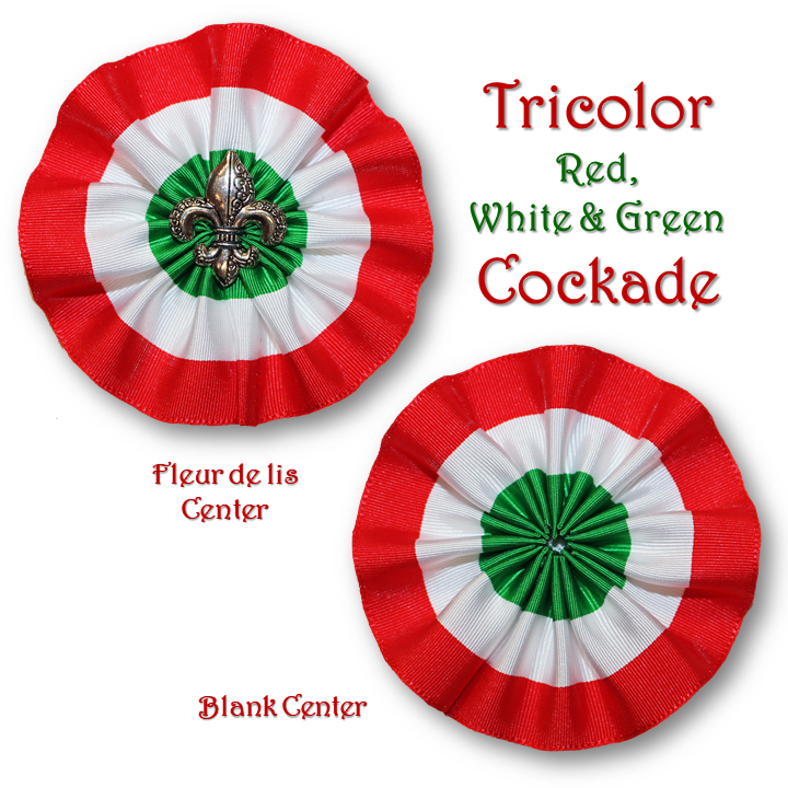 Tricolor Red White & Green Cockade