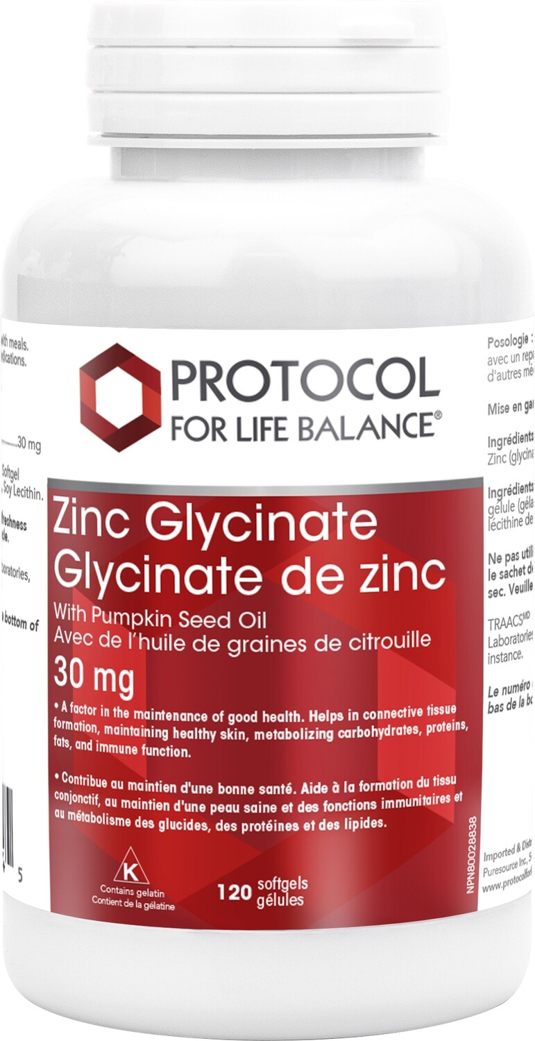 Zinc Glycinate Gels by Protocol for Life Balance