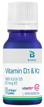 Vitamin D3 & K2 (MK7) Drops by Biomed