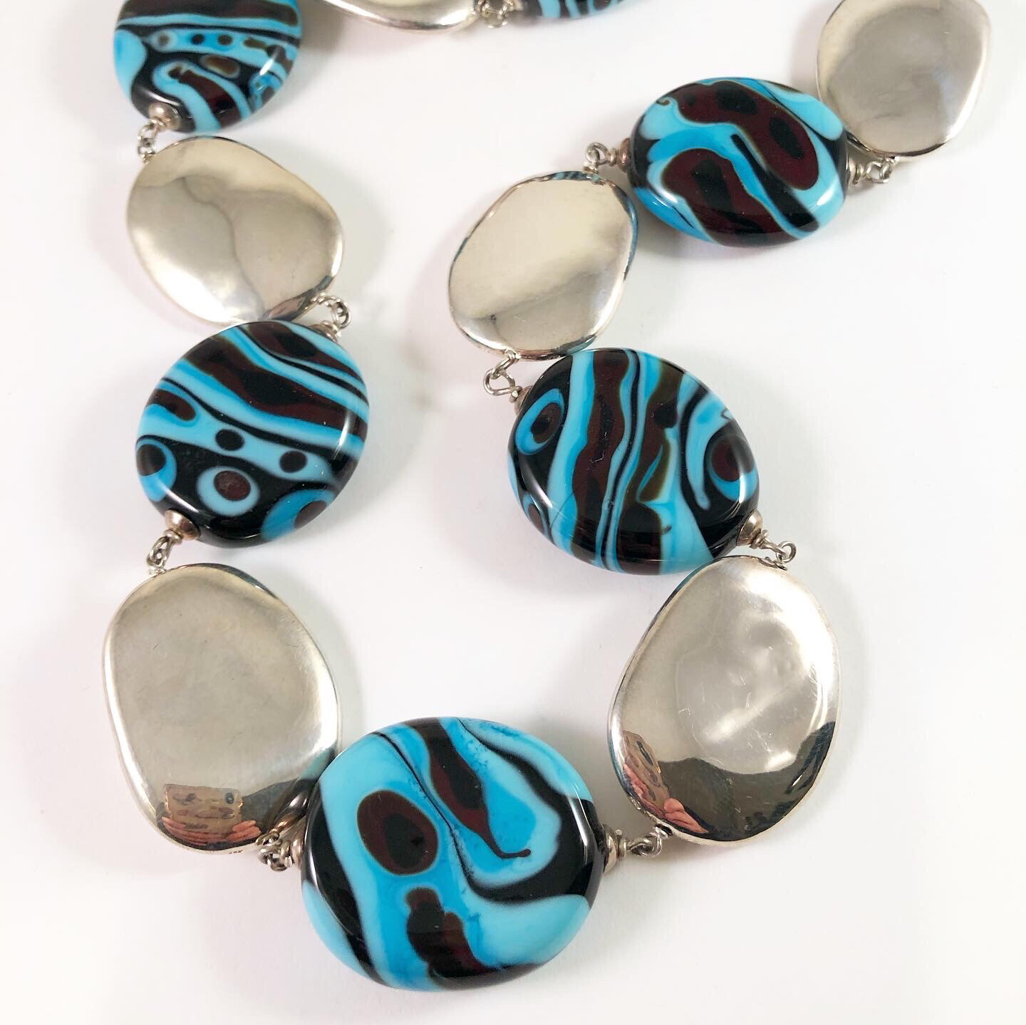 Turquoise And Silver Lozenge Necklace