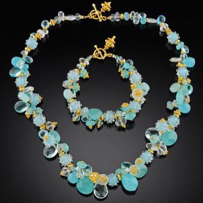 Gold and aqua gemstone glass necklace