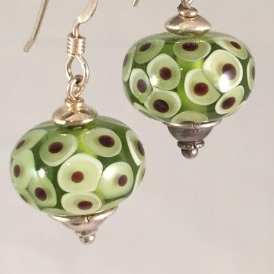 Green spotted earrings