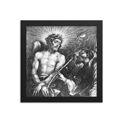 The mocking of Christ etching - Framed poster