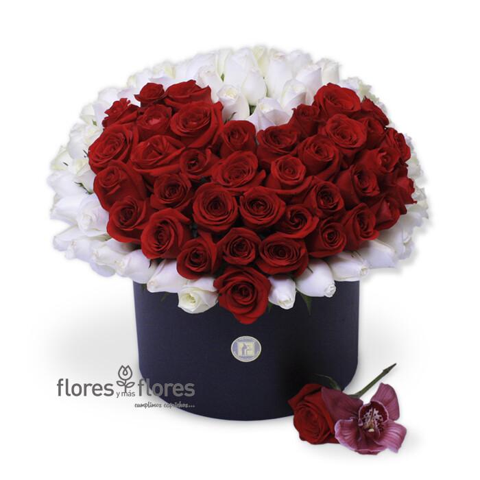 Arreglo Floral Rosas Rojas y Blancas | COLETTE
