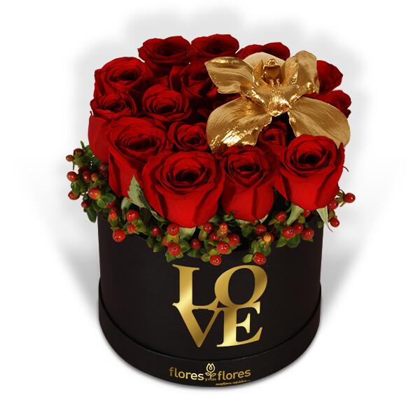 Arreglo floral de Rosas Rojas y Orquídea | MY SOUL