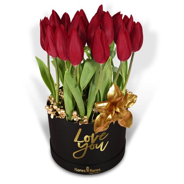 Bouquet Tulipanes y Orquídea Oro    YOURS