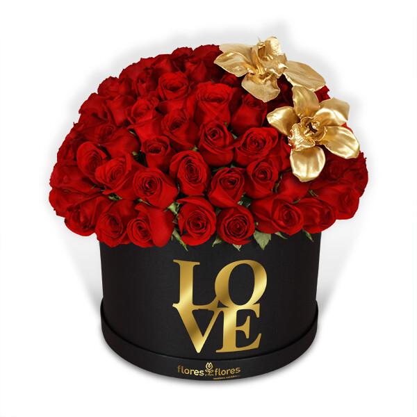 Bouquet 100 Rosas Rojas y Orquídea Oro    SOULMATE