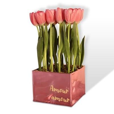 Arreglo floral de 20 Tulipanes rosa o rojo I BLANCHE