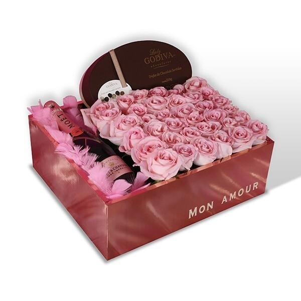 Caja con rosas y champagne I EDITH F-0115