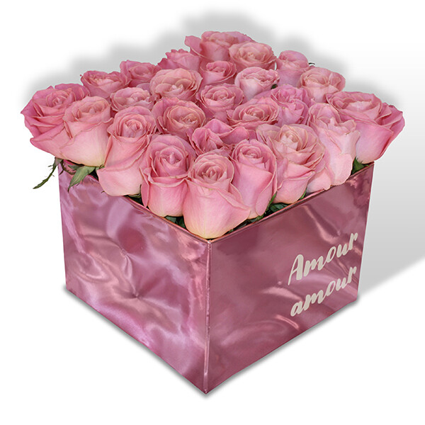 Caja con 24 rosas Premium rosa o rojo I CAROL F-0112
