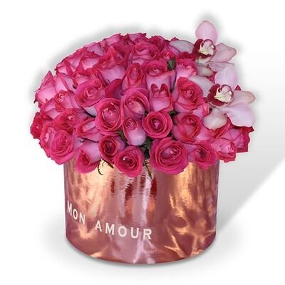 Caja de 100 rosas Premium rosa o rojo  | GISELLE F-0116