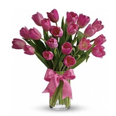 Arreglo Floral Tulipanes Rosas     DESIR  T-0025