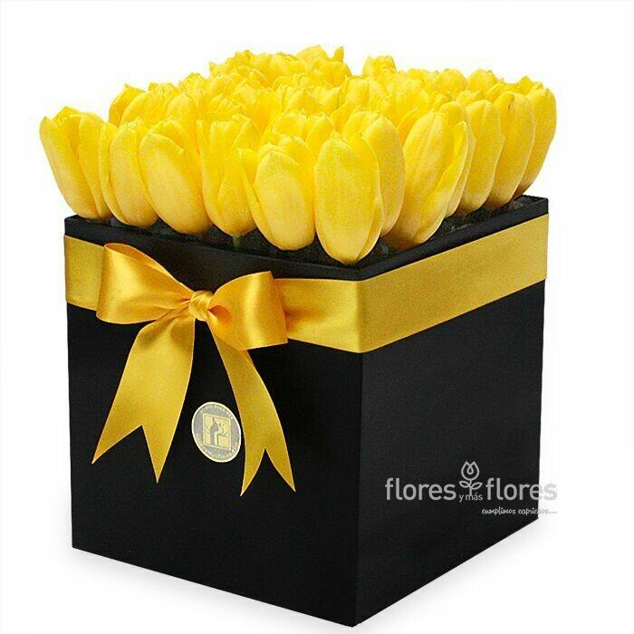 Tulipanes Amarillos en Caja   CAMILE