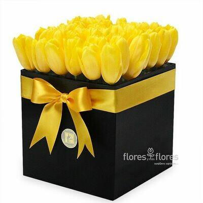Tulipanes Amarillos en Caja | CAMILE