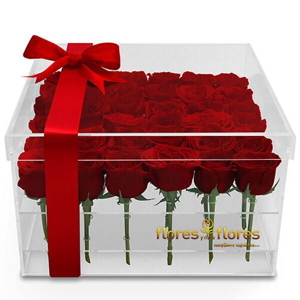 36 Rosas Rojas  en caja Acrílico    GIORDANA