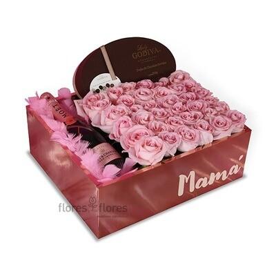 Caja con rosas y champagne  | EDITH