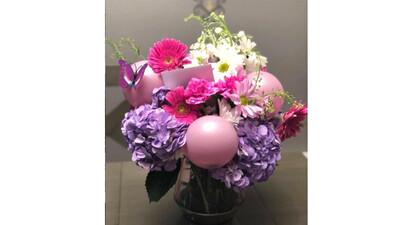 Bouquet de Flores con  Globos   GLAMOUR