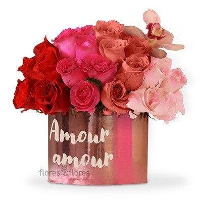 Caja personalizada de 50 rosas Premium rosa o rojo  | CECILE