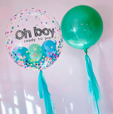 Duo de globos con confetti | CLEAR