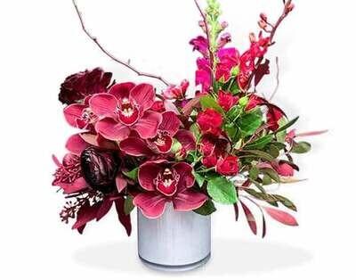 Arreglo floral de Orquídeas y Rosas  |  CARRARA