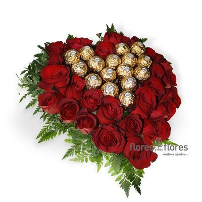 Arreglo Floral de Corazón y Chocolates | VALENTIN