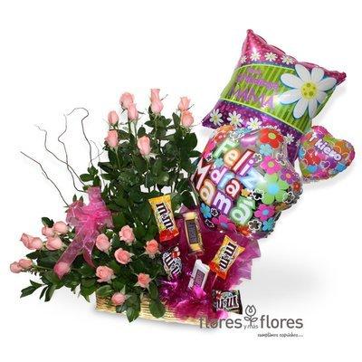 Canasto con 24 Rosas, Globos y Chocolates | BRISA