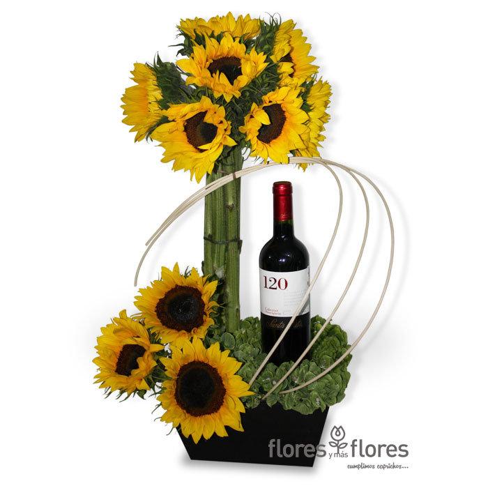 Arreglo Floral de Girasoles y Vino   EROS