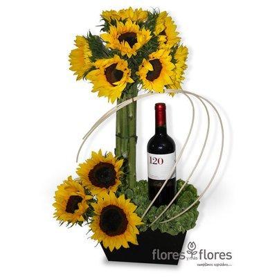 Arreglo Floral de Girasoles y Vino | EROS