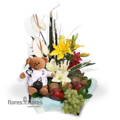 Arreglo Floral con Frutas y Peluche   ARZT