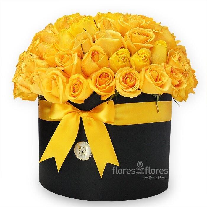 Bouquet Rosas Amarillas en Caja   JULIE
