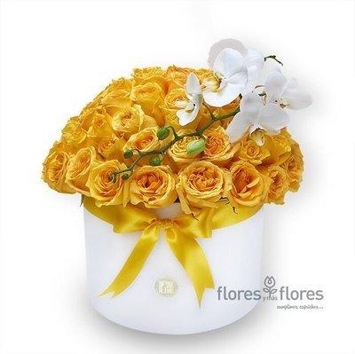 Bouquet Orquídea y Rosas Amarillas en Caja | NICOLE