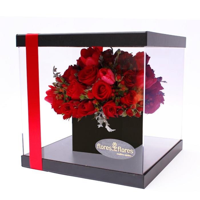 Rosas Rojas y tulipanes en caja acrílico | FILIPPA