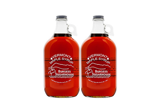 Two - Half Gallon (1.89L) Glass Jugs of Pure Vermont Maple Syrup