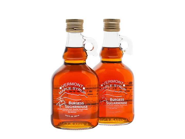 Two - 500ml (16.9 fl oz, slightly more than a pint) Glass Jugs of Pure Vermont Maple Syrup