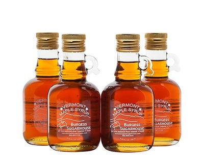 Four - 250ml (8.5 fl oz, slightly more than a half pint) Glass Jugs of Pure Vermont Maple Syrup