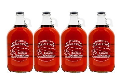 Four - Half Gallon (1.89L) Glass Jugs of Pure Vermont Maple Syrup