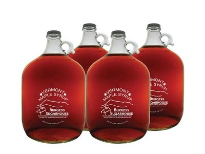 Four - One Gallon (3.8L) Glass Jugs of Pure Vermont Maple Syrup