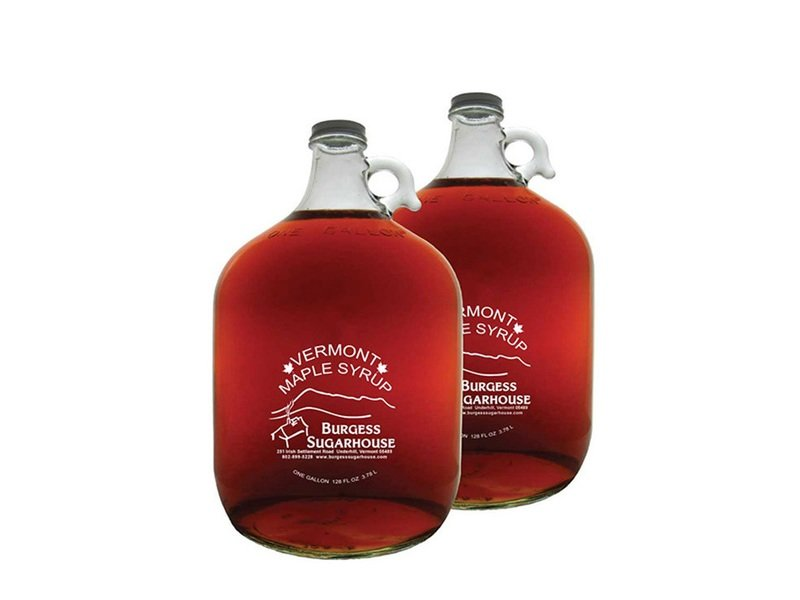 Two - One Gallon (3.8L) Glass Jugs of Pure Vermont Maple Syrup