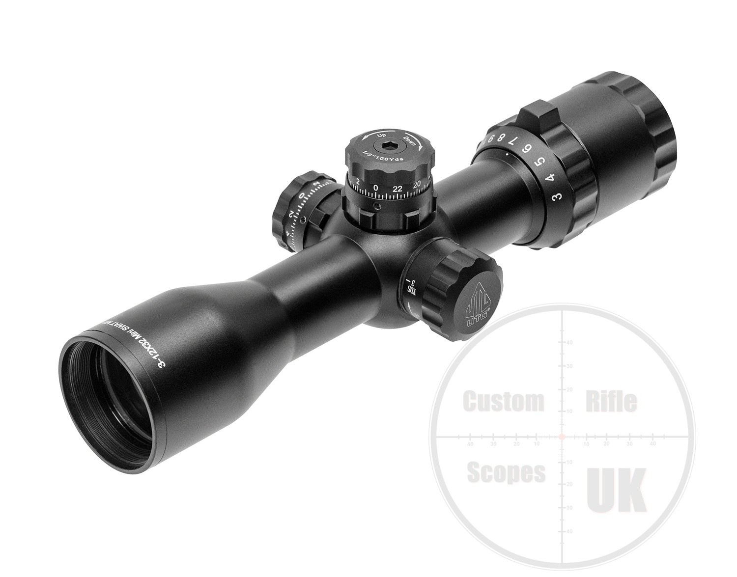 "UTG 1"" BugBuster® 3-12X32 Scope, Side AO, Mil-dot, Weaver Rings"