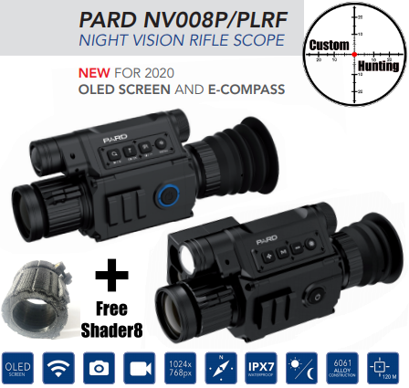 PARD 008P/PLRF HD rangefinder day/night scope + FREE shader8
