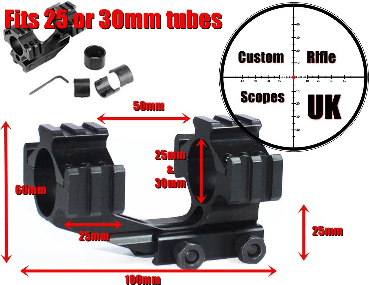 1 peice forward reach Scope Mount Dual Ring 25mm/30mm Picatinny / Weaver Rail