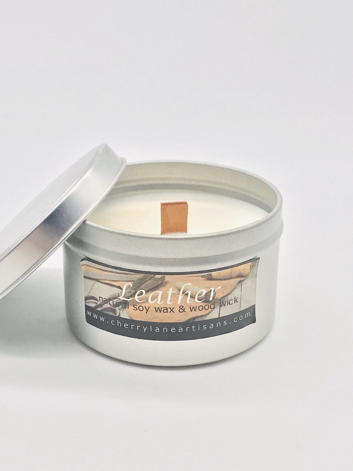 Leather Scented Soy Wax Candle with Wood Wick, 6 oz Tin.