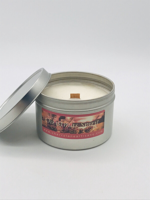 Christmas Spirit Scented Soy Wax Candle with Wood Wick, 6 oz Tin.