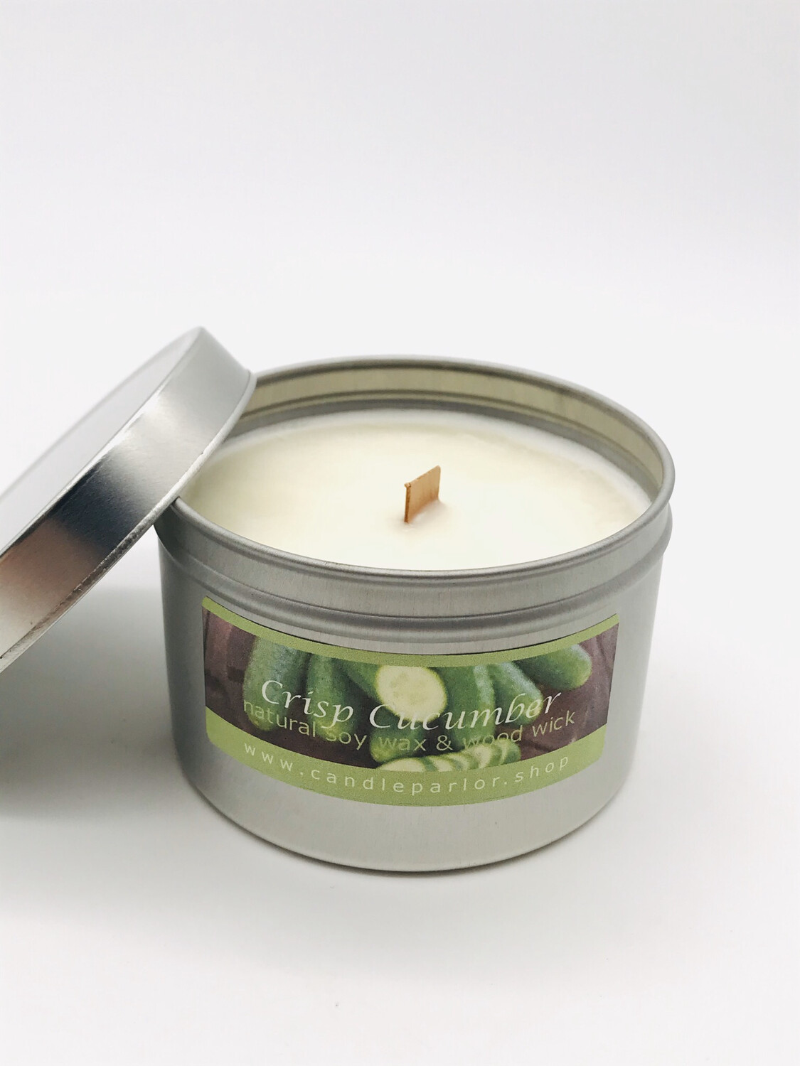 Crisp Cucumber Scented Soy Wax Candle with Wood Wick, 6 oz Tin.