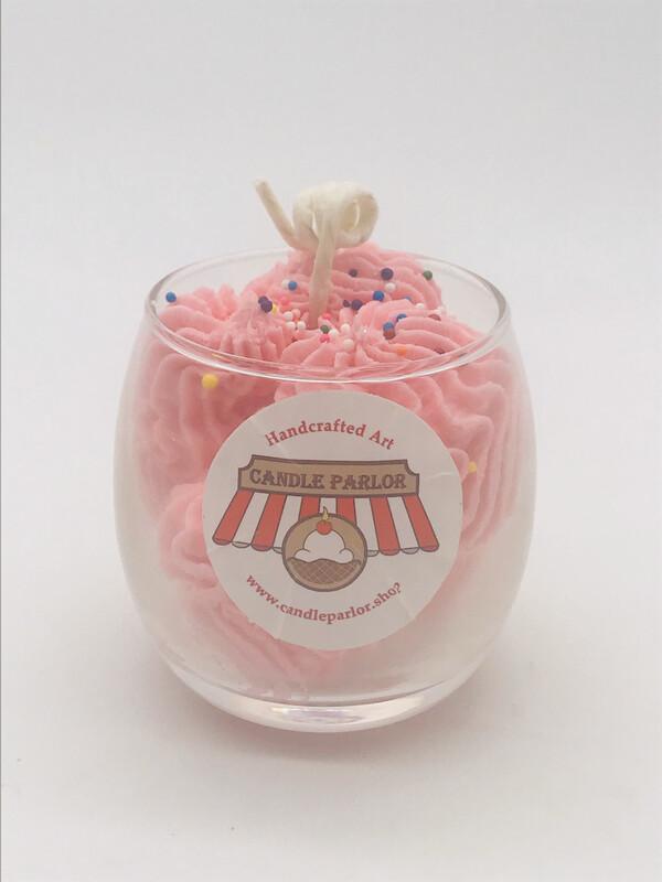 Strawberry Scented Sundae Candle, Globe