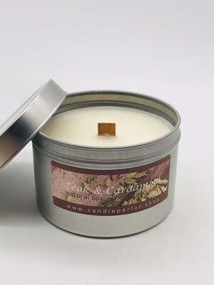 Teak & Cardamon Scented Soy Wax Candle with Wood Wick, 6 oz Tin.