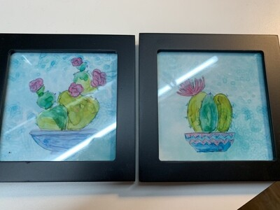 Pair of 4x4 Framed Prints, Cactus