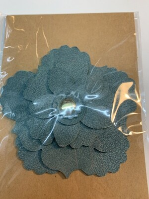 Blue/green Leather Flower Pin