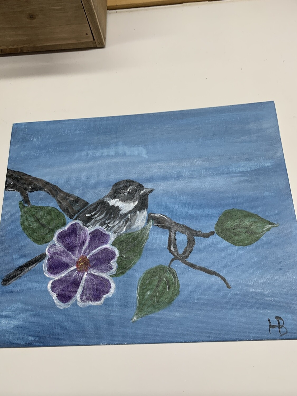 8x10 Chickadee Acrylic Painting